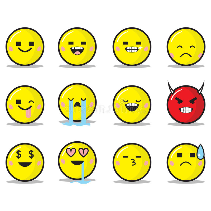 Download Square Eyes Emoticon Set stock vector. Illustration of internet - 92503653