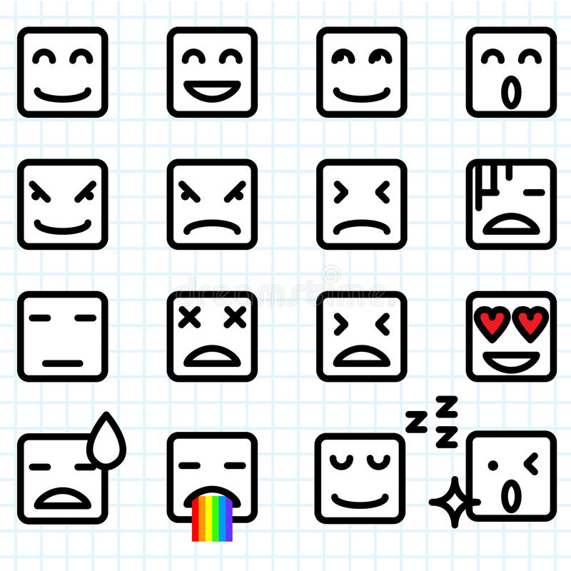 Square Face Emoticons vector illustration