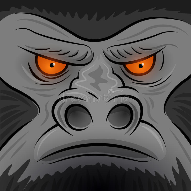 Square Faced Gorilla Ape royalty free illustration