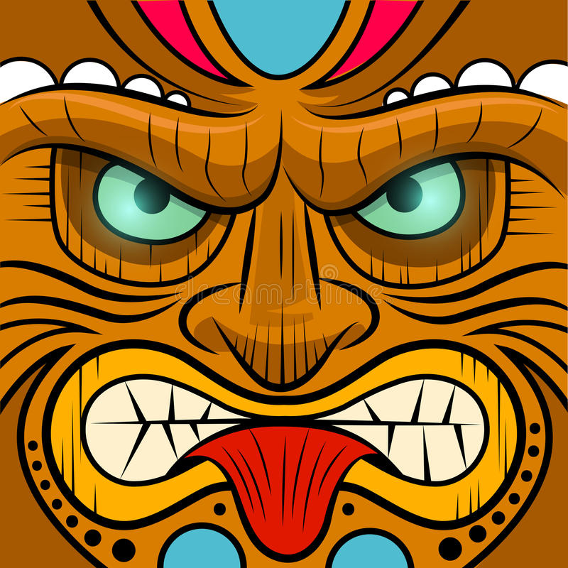 Square Faced Tiki Mask vector illustration
