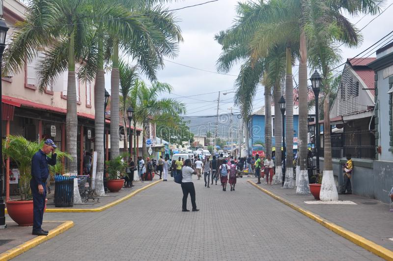 Street in Falmouth, Jamaica. Square in Falmouth, Jamaica. Falmouth is the chief town and capital of the parish of Trelawny in Jamaica. It is situated on Jamaica` stock image