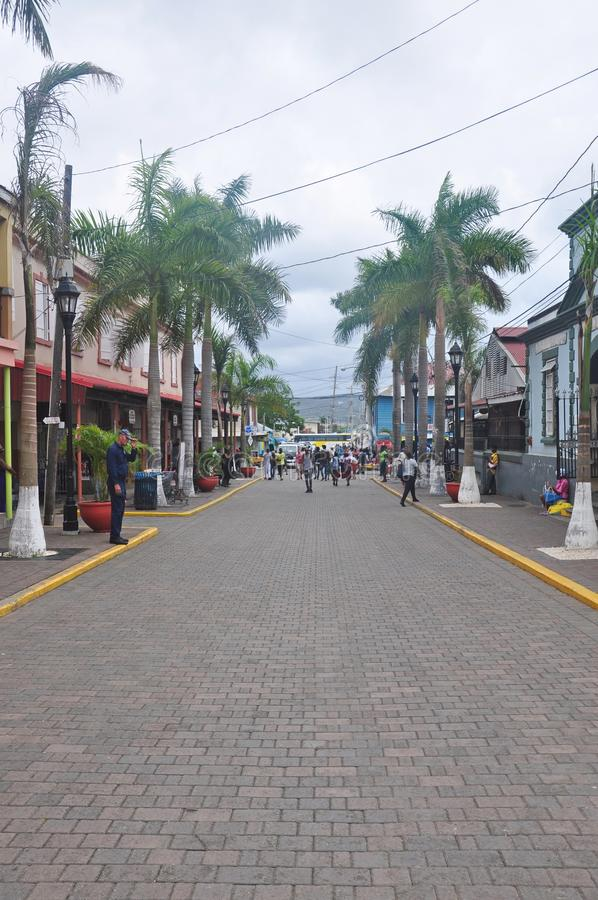 Street in Falmouth, Jamaica. Square in Falmouth, Jamaica. Falmouth is the chief town and capital of the parish of Trelawny in Jamaica. It is situated on Jamaica` royalty free stock images