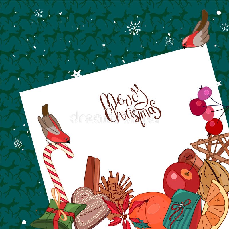 Square festive frame with Christmas decoration, bullfinches and list of paper. vector illustration