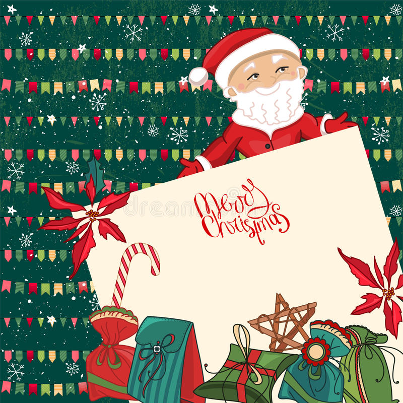 Square festive frame with Santa, gift boxes and list of paper. royalty free illustration