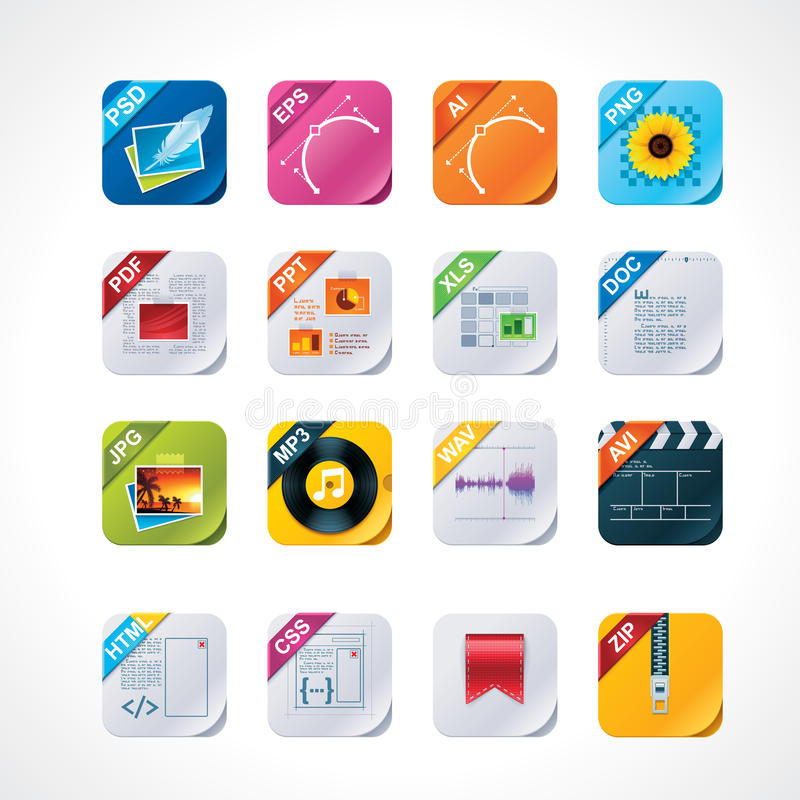 Free Square File Labels Icon Set Royalty Free Stock Photo - 21708375