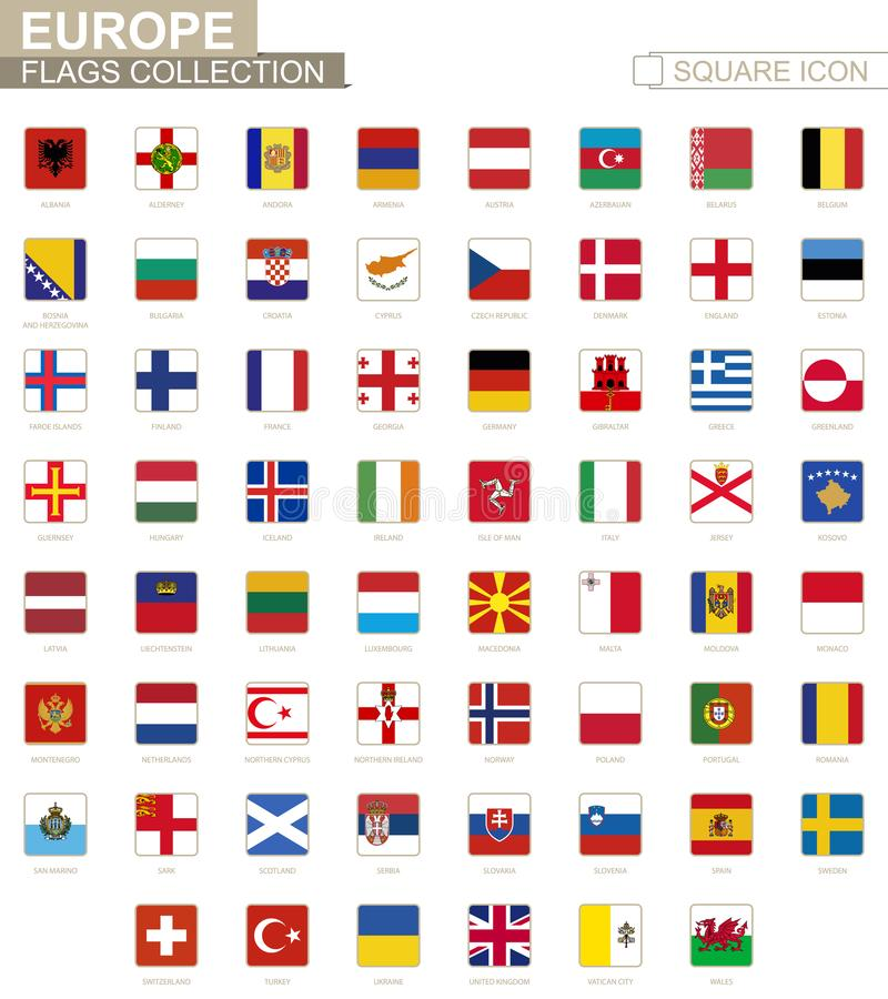 Square flags of Europe. From Albania to Wales. Vector Illustration stock illustration