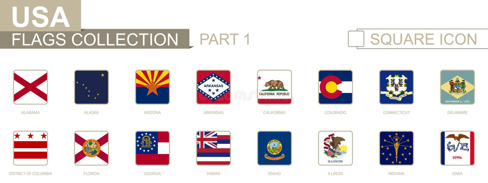 Square flags of US States. Part I from Alabama to Iowa. Vector Illustration vector illustration