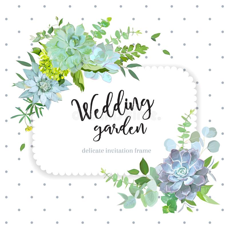 Square floral vector design frame with polka dots. Square floral vector design frame. Eucalyptus, hydrangea, echeveria succulents, wildflowers, leaves and herbs vector illustration