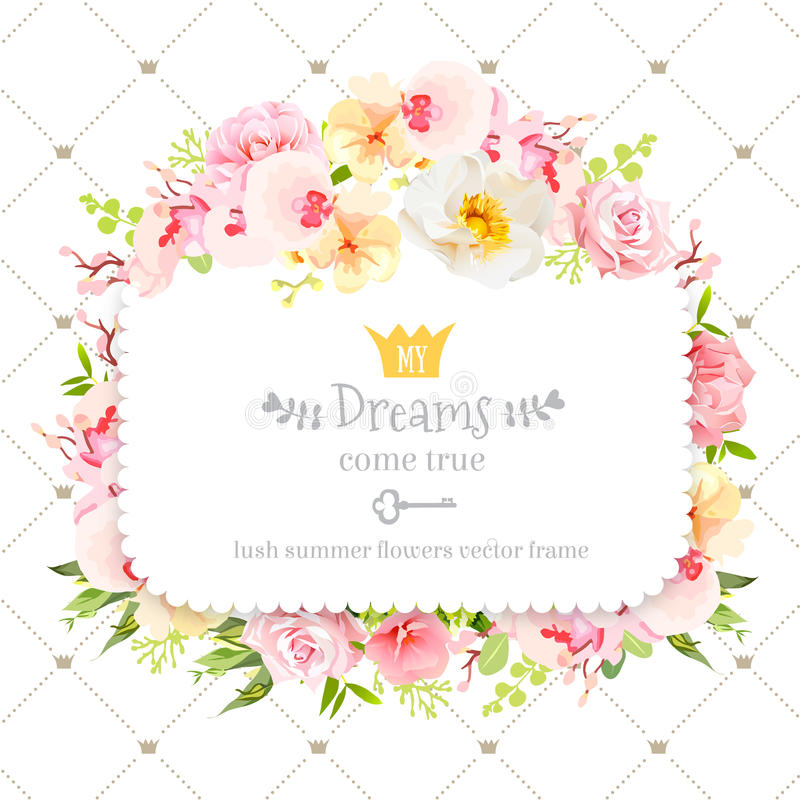Square floral vector design frame. Orchid, wild rose, camellia flowers and fresh green leaves vector illustration