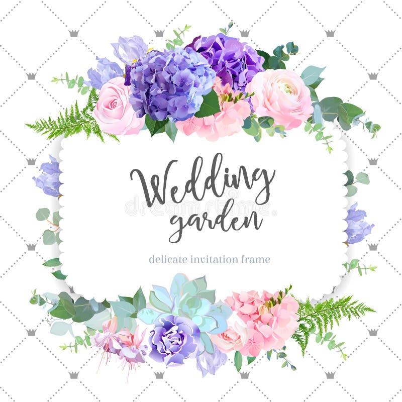 Square floral vector design frame. Rose, ranunculus, hydrangea, iris, fuchsia, carnation, succulent. Wedding card. Delicate violet wedding invitation card. All royalty free illustration