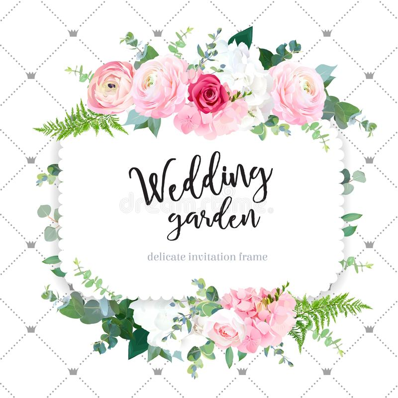 Square floral vector design frame. Pink ranunculus, red rose, white hydrangea flowers, eucalyptus, forest fern. Wedding card.Simple backdrop with princess vector illustration