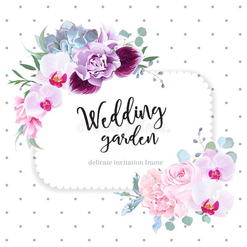 Square floral vector design frame. Purple orchid, pink rose, hydrangea, campanula flowers, carnation, succulent, green eucalyptus. Wedding card. Simple vector illustration