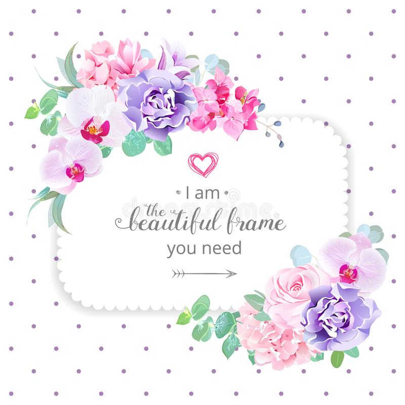 Square floral vector design frame. Purple orchid, pink rose, hydrangea, campanula flowers, carnation, green eucalyptus. Wedding card. Simple backdrop with stock illustration