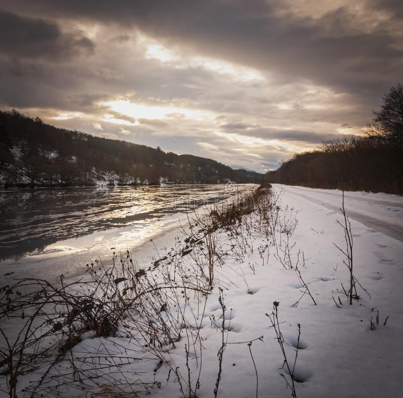 Square Caledonian Canal. A square format winter image of the Caledonian Canal at dusk, Fort Augustus stock image
