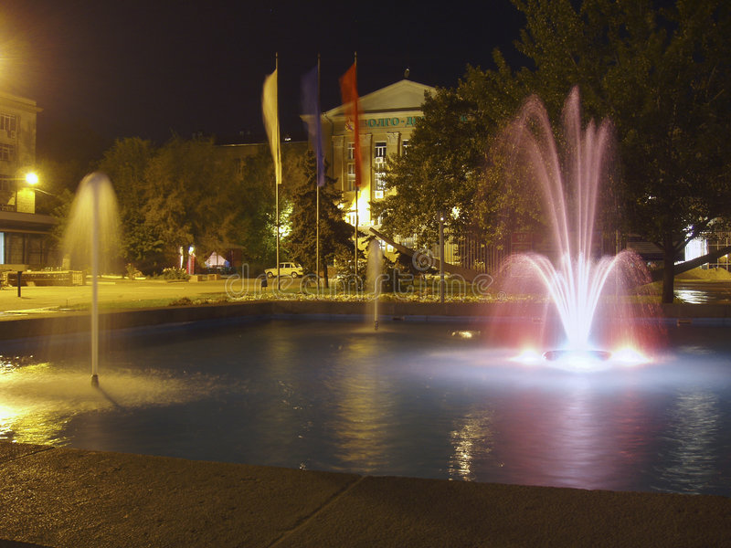 Square with a fountain stock photography