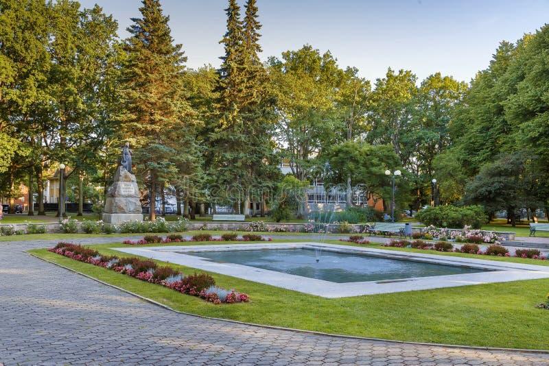 Square with fountain, Parnu, Estonia. Square with fountain and flowerbed in Parnu city center, Estonia stock image