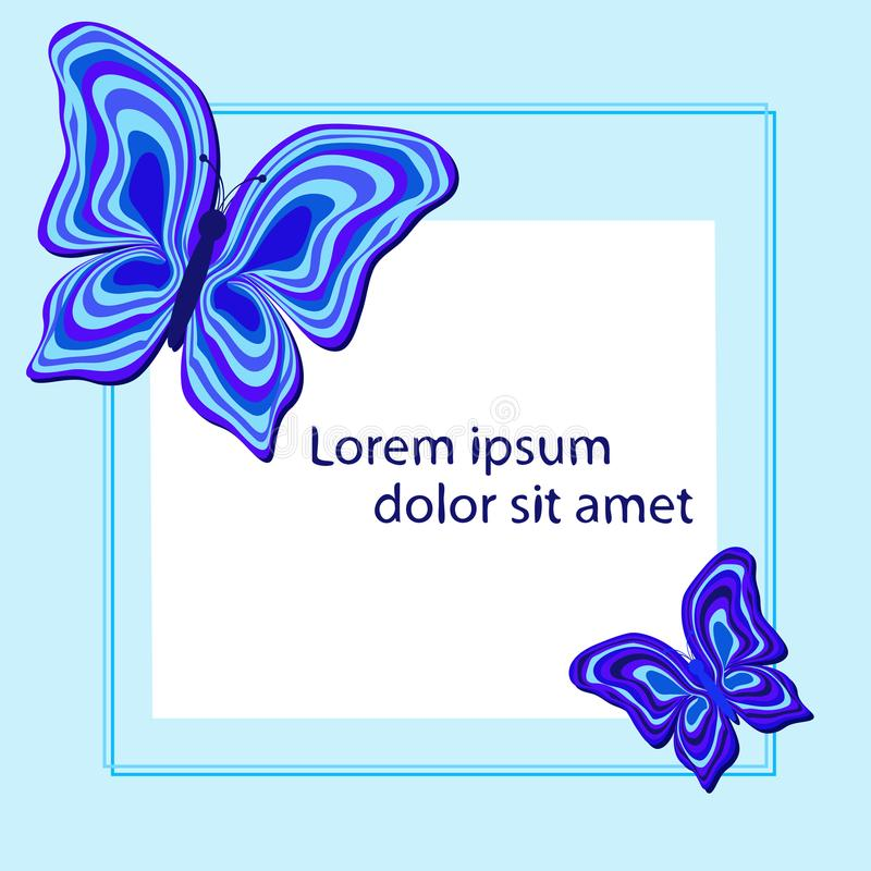 A square frame with abstract butterflies in blue tones. vector illustration