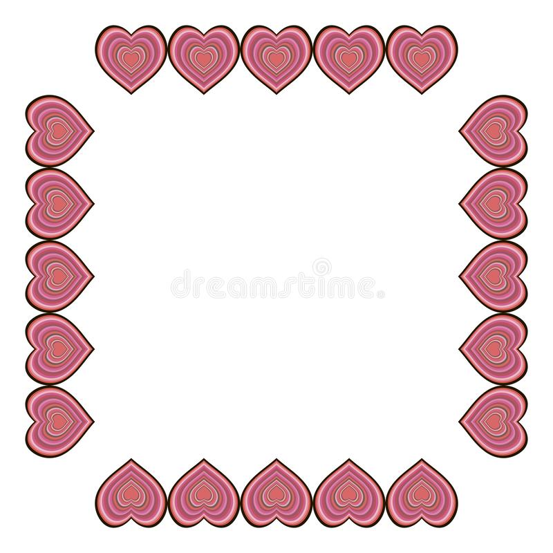 Square frame with big multicolor hearts on white background. vector illustration