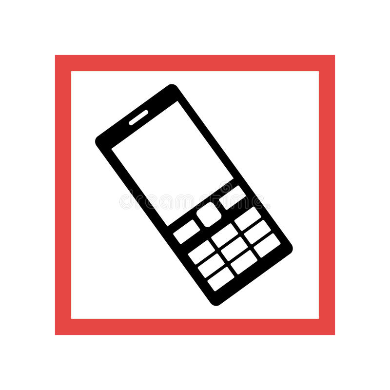 Square frame with black contour cellphone with keyboard. Vector illustration vector illustration