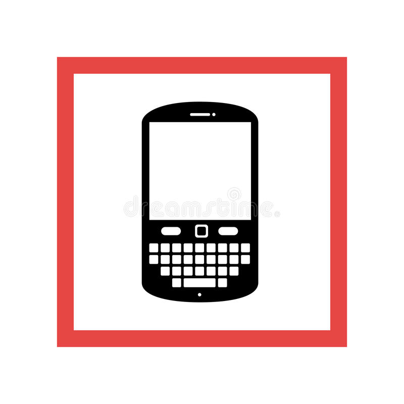 Square frame with black contour cellphone with keyboard. Vector illustration royalty free illustration