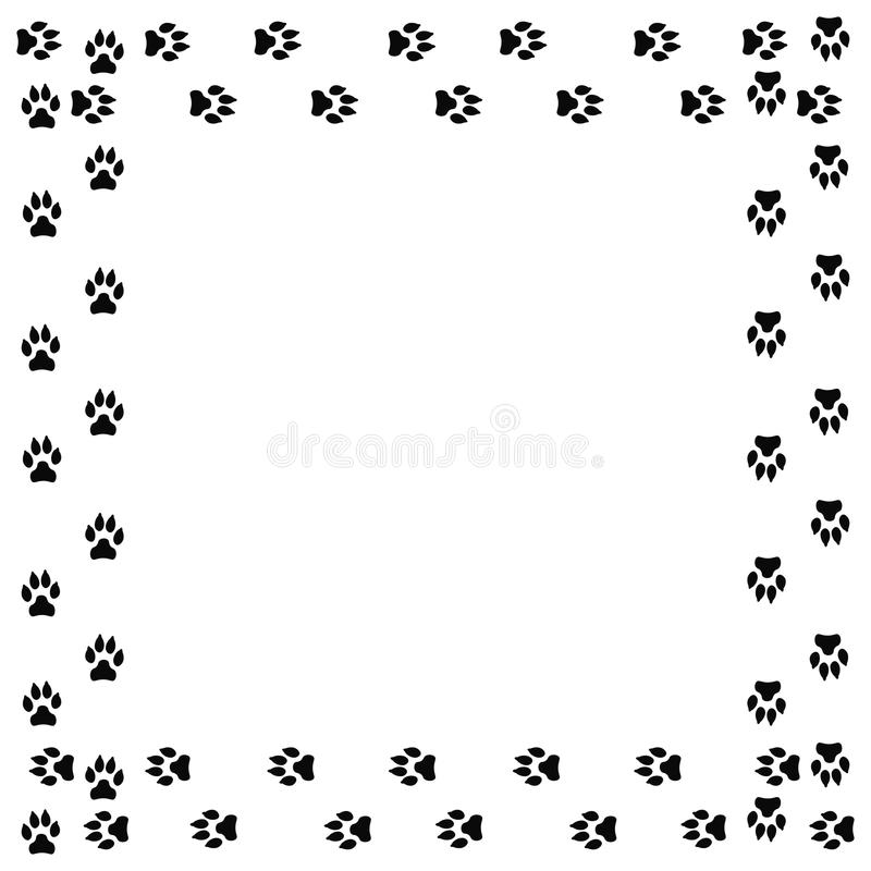 Square Frame With Black Dog Track Isolated On White Background Stock ...