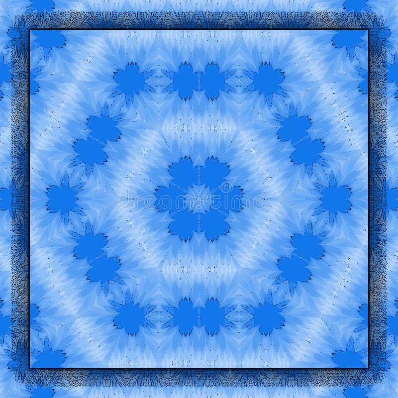 Square frame on blue optical illusion background of moving hexagons shapes, blue snowflakes or abstract flowers vector illustration