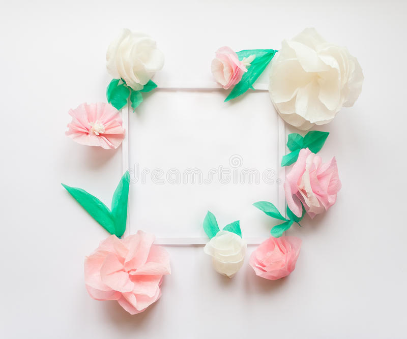 Square frame with color paper flowers flat lay nature concept download square frame with color paper flowers flat lay nature concept stock illustration mightylinksfo