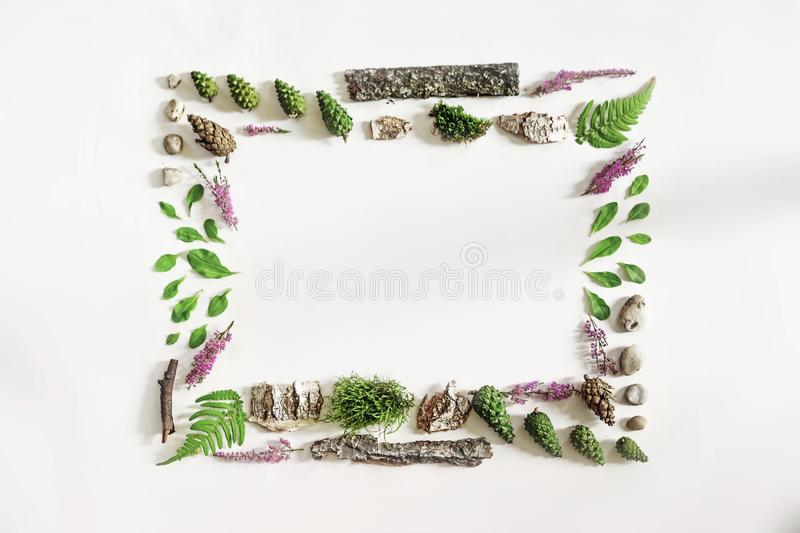 Square frame, Creative layout, natural layout of leaves, stones and wood. Empty for an advertising card or invitation. The concept royalty free stock image