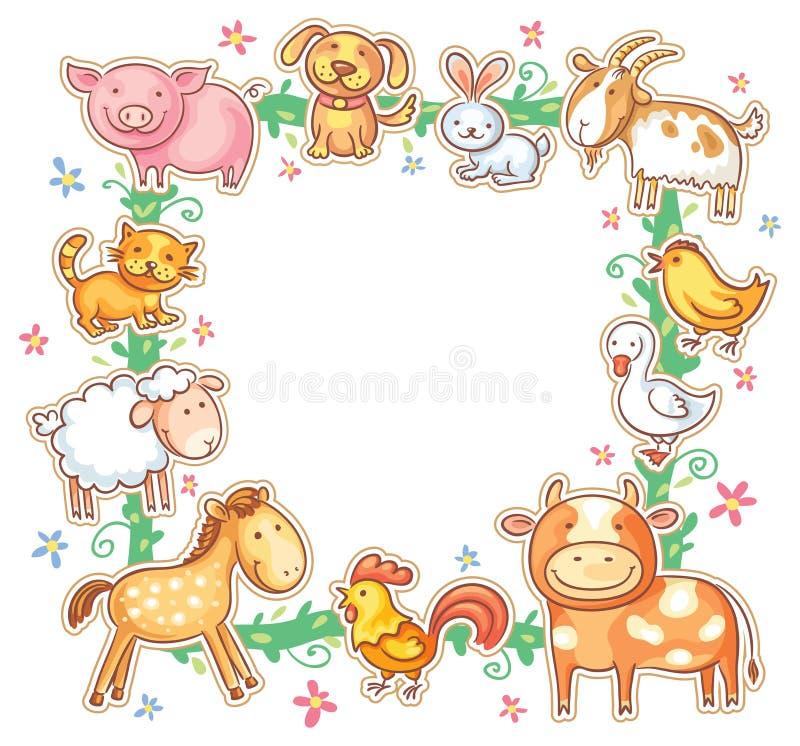 Square Frame with Cute Cartoon Farm Animals stock illustration
