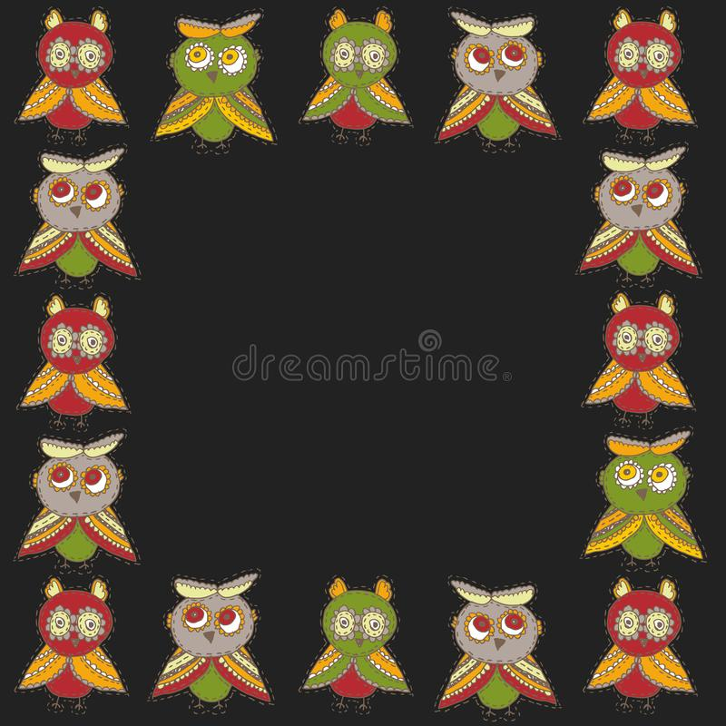 Square frame Cute characters Cartoon owls and owlets birds sketch doodle green brown dark red burgundy on black background. Vector vector illustration