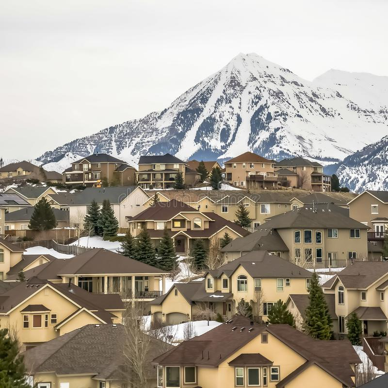 Square frame Exterior view of homes surrounded by fresh white snow and conifers in winter. A towering frosted mountain and cloudy sky can be seen in the stock photo