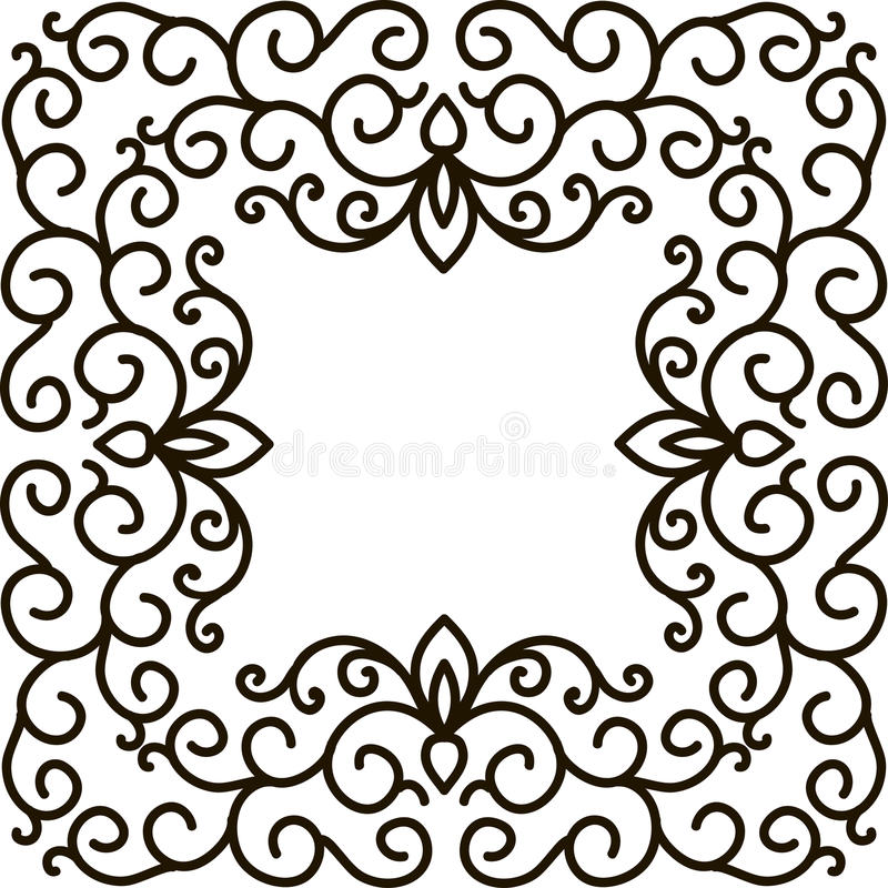 Square Frame Of Floral Pattern Black On White Stock Vector ...