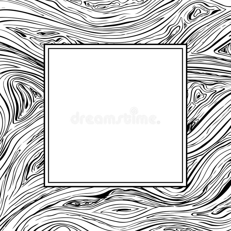 Square frame with lines background. Vector texture with copyscape hand drawn ink wavy strokes. Black and white royalty free illustration