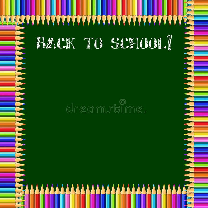 Square frame made of colorful pencils on green blackboard background with back to school chalky inscription and copy space. stock illustration