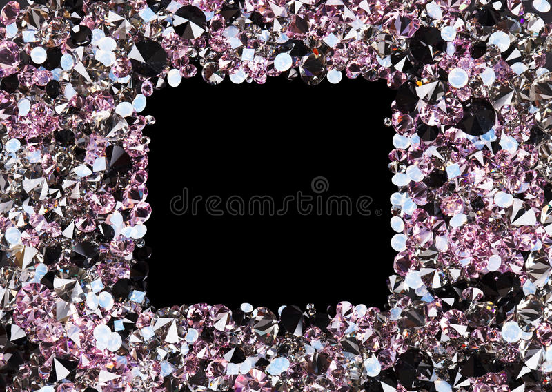 Square frame made from many small purple diamonds