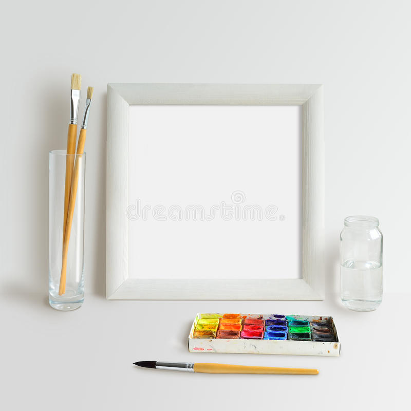 Square Frame Mock Up with Watercolour stock images