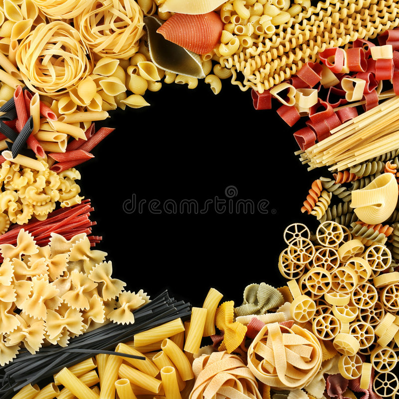 Square frame pasta mix royalty free stock photos