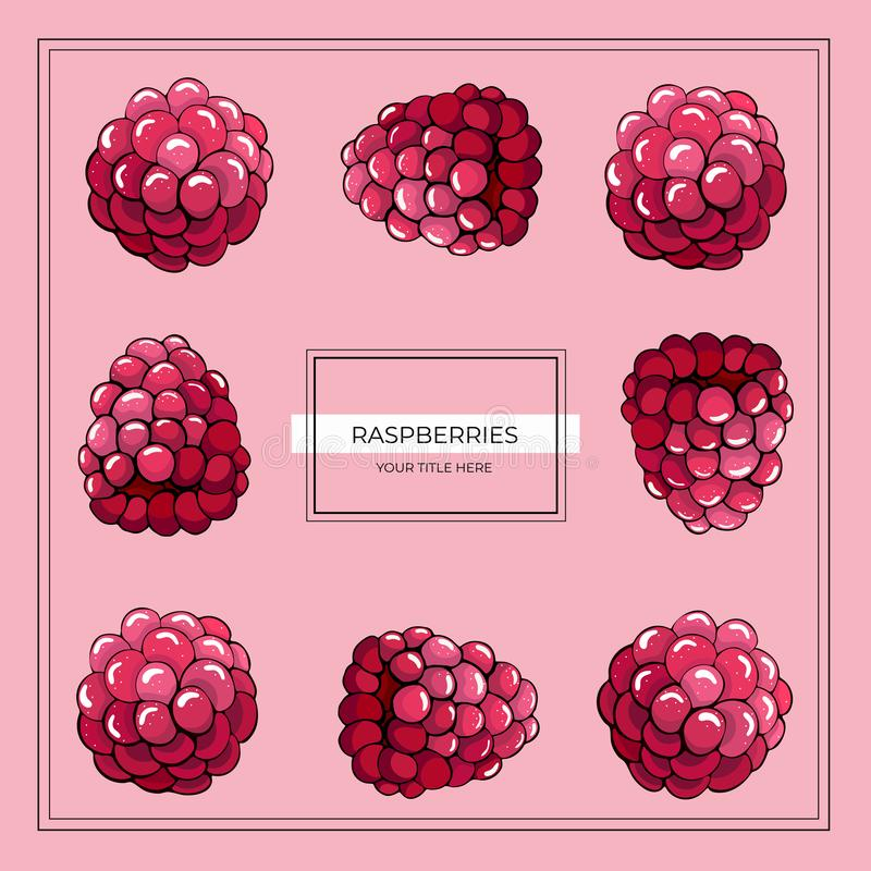 Square frame of raspberry berries on a pink background vector illustration