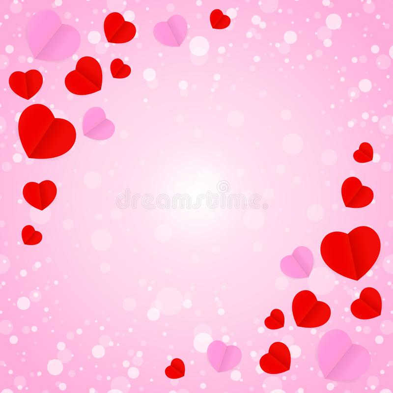 Square frame and red pink heart shape for template banner valentines card pink background, many hearts shape on pink gradient soft royalty free illustration