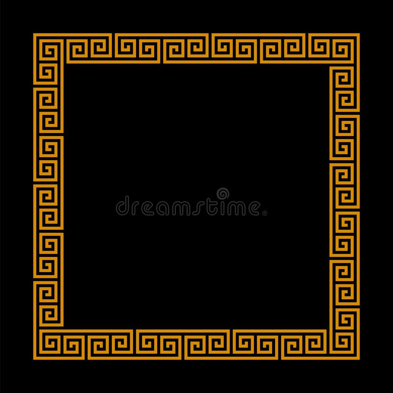 Square frame with seamless meander pattern. greek fret repeated motif. vector meandros decorative vector border. Square frame with seamless meander pattern stock illustration