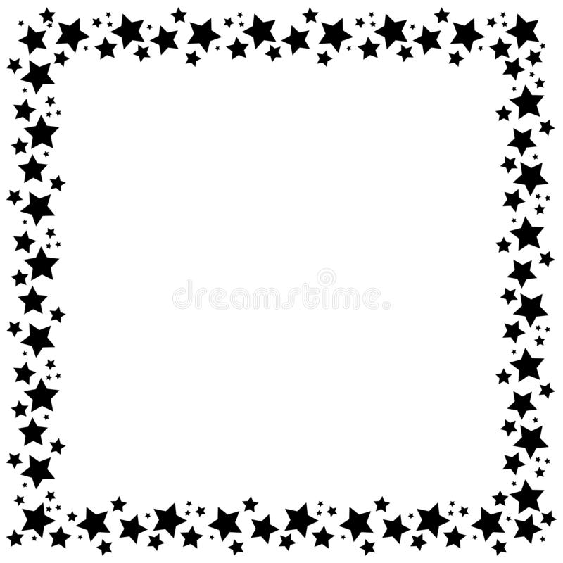 Square frame with stars on white background, golden symbols. Starry night border. Element of design for a holiday, christmas vector illustration