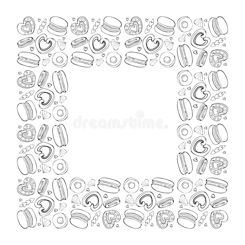 Square frame of sweets, cookies, donut, marshmallow, macaron in vector. Sweet pastries and pastry isolated on white background. royalty free illustration