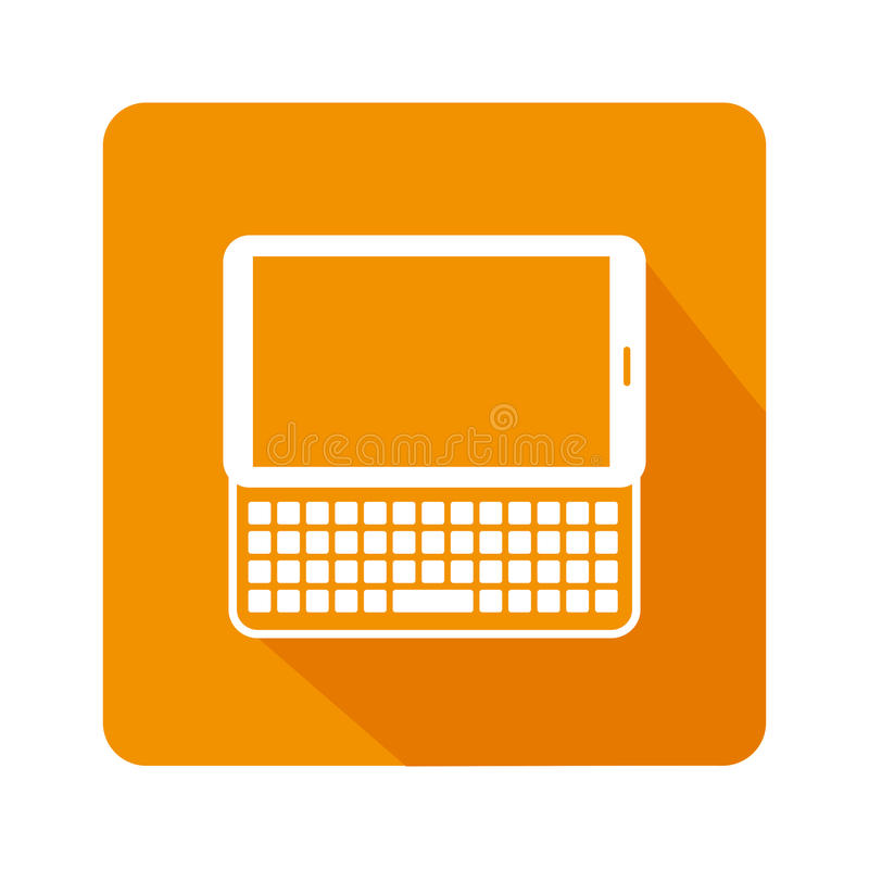 Square frame with tablet with keyboard. Vector illustration royalty free illustration