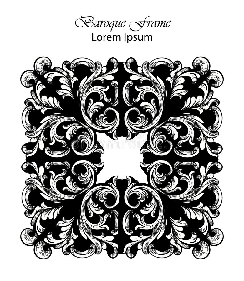 Square Frame Vector. Classic rich ornamented carved decors. Baroque sophisticated designs. Square Frame Vector. Classic rich ornamented carved decors. Baroque stock illustration