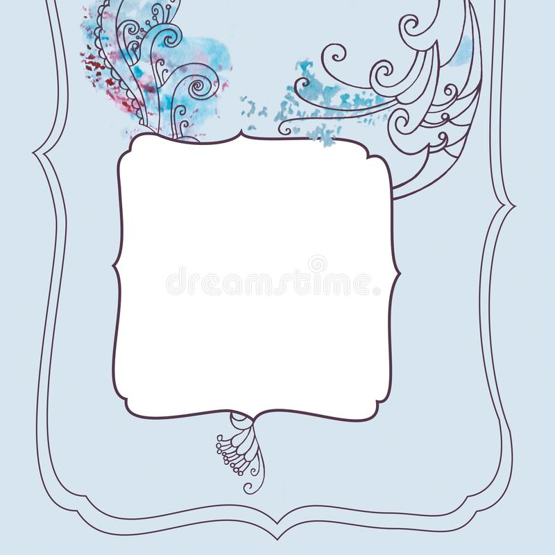 Square frame with winter blue frosty christmas pattern stock photography