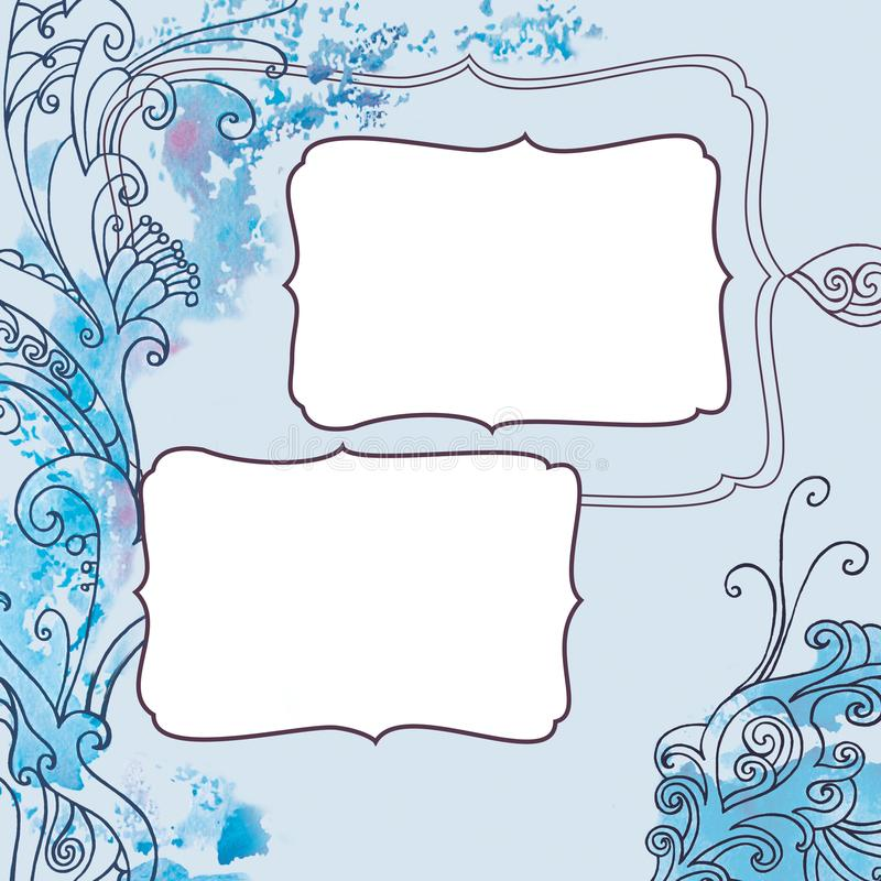 Square frame with winter blue frosty christmas pattern stock illustration
