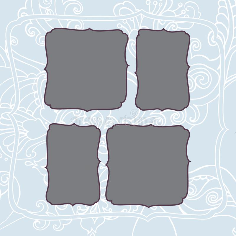 Square frame with winter blue frosty christmas pattern royalty free stock photography