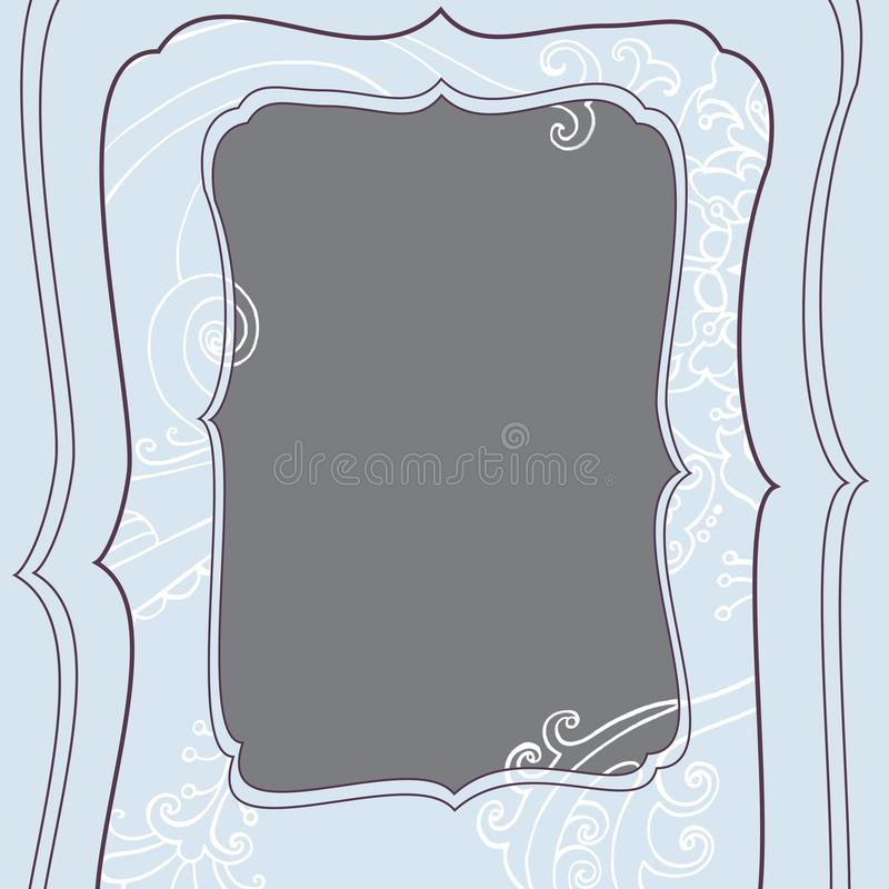 Square frame with winter blue frosty christmas pattern royalty free illustration