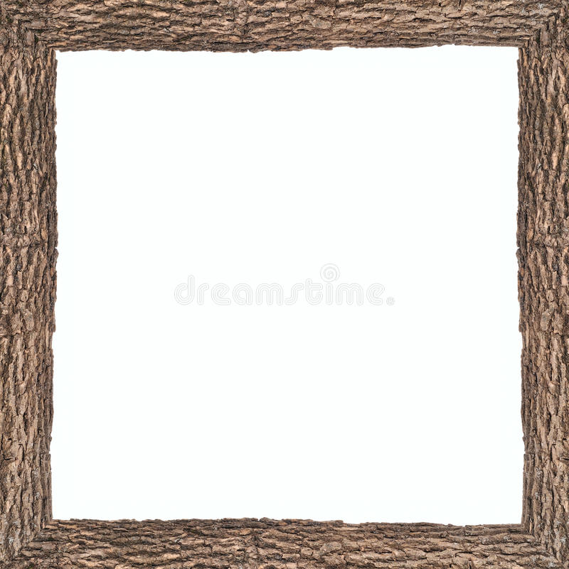 Square frame with wooden bark texture. Dark square frame with wooden bark texture stock photos