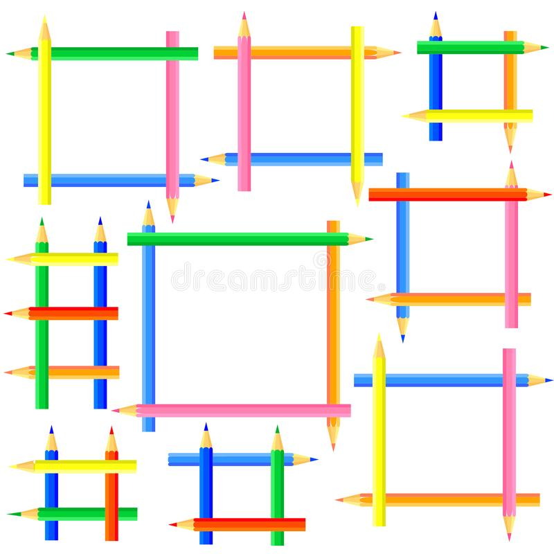 Square frames created from colored pencils. royalty free stock photography